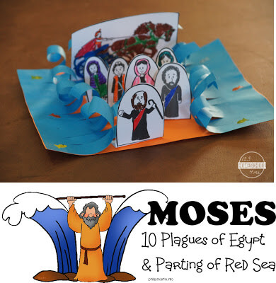 Moses Sunday School Lesson with 10 Plagues of Egypt Activity and Crossing the Red Sea Bible craft #mosesforkids #biblecrafts #sundayschool #plaguesofegypt