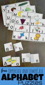 Practice identifying alphabet letters while having fun with these free printable upper and lowercase alphabet puzzle. In this low prep alphabet activity children will work on letter recognition and visual discrimination to make the two-part, self checking puzzles. These super cutealphabet matching is a free abc printables perfect for preschool, pre-k, and kindergarten age children that are learning their abcs. SImply print the Alphabet puzzles printablepdf file with the Alphabet Gameto make learning fun.