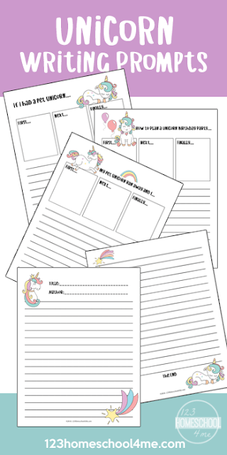 FREE Unicorn Writing Prompts - make practicing writing fun with these free printable creative writing prompts; perfect for practice writing for kindergarten, first grade, 2nd grade, 3rd grade, 4th grade, 5th grade, and 6th grade kids.