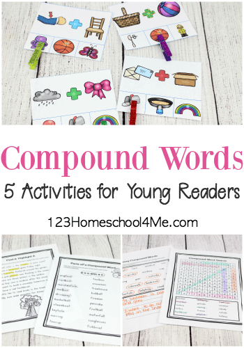 5 FREE Compound Words Activities - included are clip cards for non-readers, and several different activities for readers to identify compound words. These are perfect for Kindergarten, first grade, and 2nd grade students.