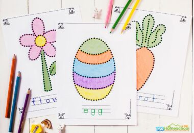 super cute, free printable easter coloring pages for toddlers, preschoolers, pre k, and kindergartners to improve fine motor skills as they trace flowers, easter eggs, carrots, duckling, hatching check, cross, carrot, bunny, and cloudy day