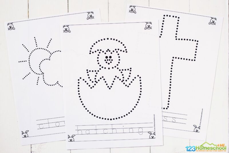 easter tracing pages for toddlers, preschoolers, and kindergartners to work on prewriting skills while strengthening fine motor skills in April