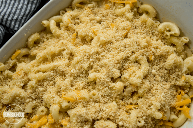 homemade macaroni and cheese with special topping