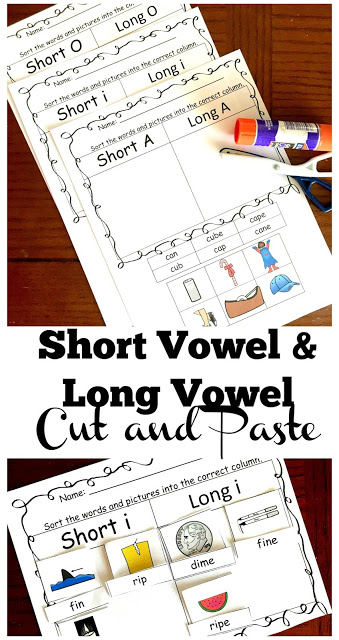 FREE Long Vowel and Short Vowel Cut and Paste Worksheets - these free printable first grade, 2nd grade, and 3rd grade worksheets are NO PREP and a fun way to practice reading for spelling and practice fine motor skills