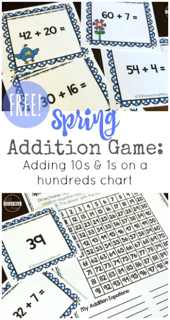 FREE Spring Addition Maths Games - this is such a fun math game with various different ways to play to help kids add double digit numbers using a hundreds chart. This free printable 100s chart is a fun activity for kindergarten, first grade, and 2nd grade students for extra practice, math center, homeschool, and more.