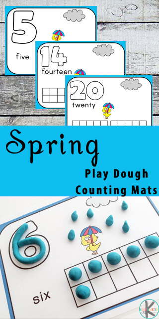 FREE spring counting activity for toddler, preschool, prek, kindergarten - playdough mats