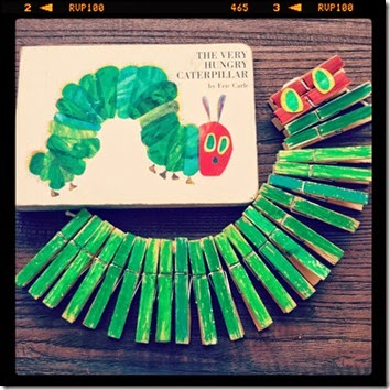 very hungry caterpillar clothespin craft