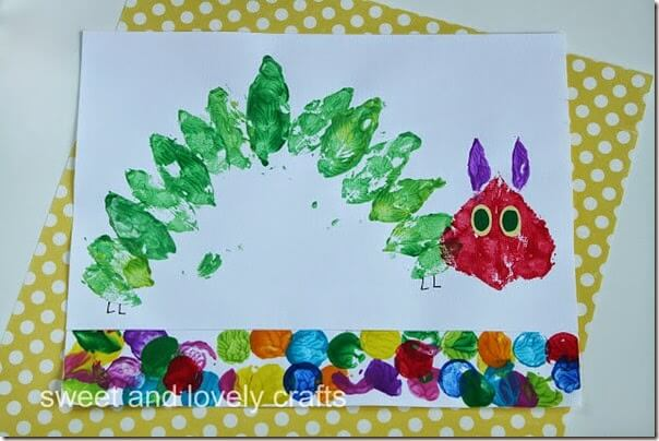 very hungry caterpillar leaf painting