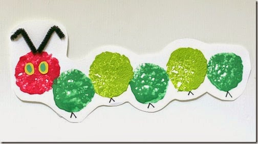 very hungry caterpillar sponge stamping craft