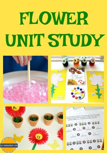 Learn about Flowers Study - this flower unit study has tons of fun, hands on educational activity to help preschool, kindergarten, first grade, 2nd grade, 3rd grade, and 4th grade kids to learn math, science, alphabet, language arts, and more with a fun flower theme. Includes preschool worksheets, preschool printables for spring or summer learning.