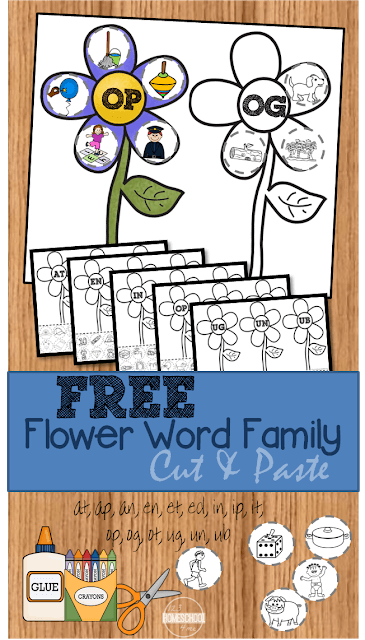 Practice word families for kids with these super cute word family worksheets. These cut and paste word family worksheetshave children cut and paste flower petals onto the flower with the correct word family. Thesespring worksheets for kindergartenand first grade are handy for a flower theme or spring theme activity. Simply download pdf file withword family printables and you are ready to play and learn with aflower activity for kids.