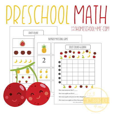 Fruit Preschool Math Worksheets