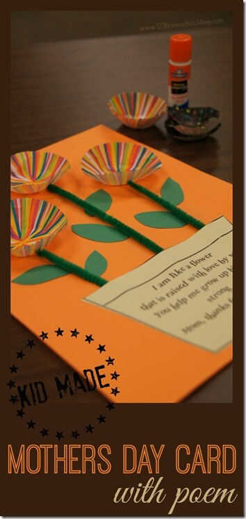 Mothers Day Card with free printable mothers day poem for a kid made mothers day gift from toddler, preschool, kindergarten, and first grade