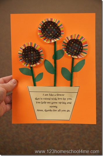 Mothers Day craft with cupcake liners and poem