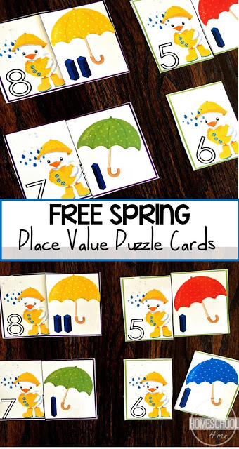 FREE Spring Place Value Cards - these super cute, free printable, hands on spring math activity is great for preschool, kindergarten, and first grade kids. Perfect for spring math practice, counting, summer learning, and math centers.