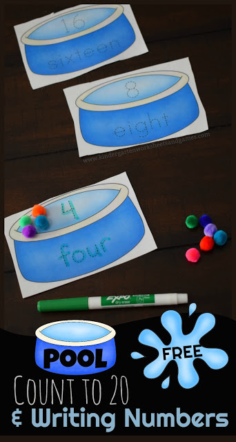 Free Pool Writing Numbers & Counting to 20 - This is a fun, LOW PREP, free printable to help preschool, kindergarten, and first grade kids practice counting to 20 and writing numbers too. Perfect for a spring or summer math center, summer practice, extra work, or for fun!