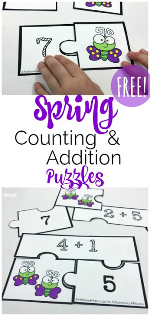 FREE Spring Counting & Addition Puzzles - these super cute free printable math game for preschool, kindergarten, and first grade kids to practice counting and addition. This fun number recognition activity is great for spring break, summer learning, hands on educational activity, hands on math, match centers, and more.