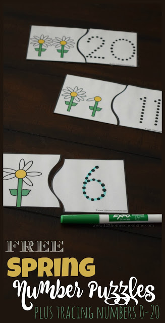 FREE Spring Number Puzzles - this is such a fun free printable counting activity for preschool and kindergarten age kids to practice how to count to 20 with a fun, hands on math activity that works great as a center, summer learning, home preschool, and more. Plus these are great for tracing numbers for practice writing numbers 0-20