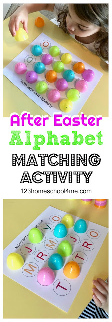 FREE Easter Egg Alphabet Matching Game - this is such a fun way for toddler, preschool, and kindergarten age kids to practice alphabet letters this spring with all those extra plastic easter eggs you have laying around.