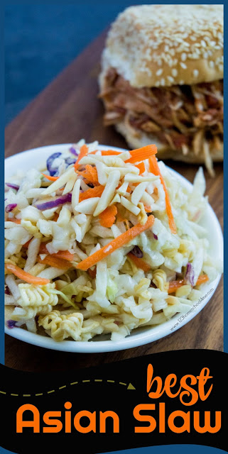 BEST Asian Slaw - this is oriental coleslaw is an easy to make salad with a simple Asian salad dressing. This recipe is our family favorite and super yummy! It goes great with everything from BBQ chicken, hamburgers, steaks, and more dinner recipes.