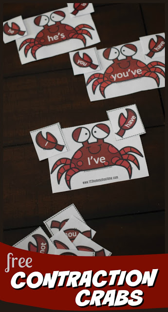 FREE Crab Contractions - this is such a fun, hands on educational activity to help first grade, 2nd grade, 3rd grade, and 4th grade kids to learn contractions. This free printable activity is perfect for centers, extra practice, seat work, spring break, and more.