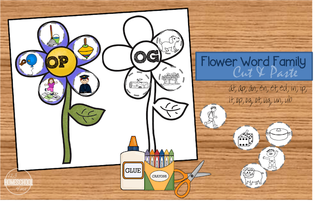 FREE printable flower word family worksheets to make learning fun