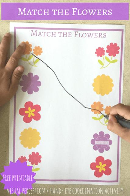 FREE Flower Match The Worksheets Preschool