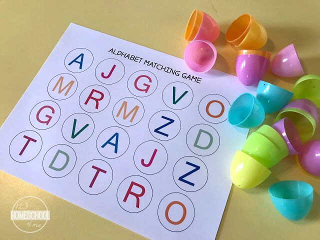 graphic regarding Alphabet Matching Game Printable identified as Cost-free Easter Alphabet Matching Match 123 Homeschool 4 Me