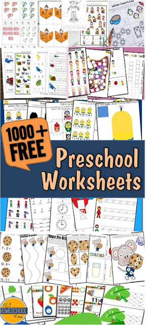 Over 1000 FREE Preschool Worksheets by different themes, alphabet, preschool, shapes, math, and more