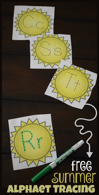 FREE Summer Alphabet Tracing - these free printable cards are such a fun, EASY, and low prep way for preschool, kindergarten, and first grade kids to practice writing alphabet letters. The summer theme is perfect for centers, summer practice, home learning, and so much more.
