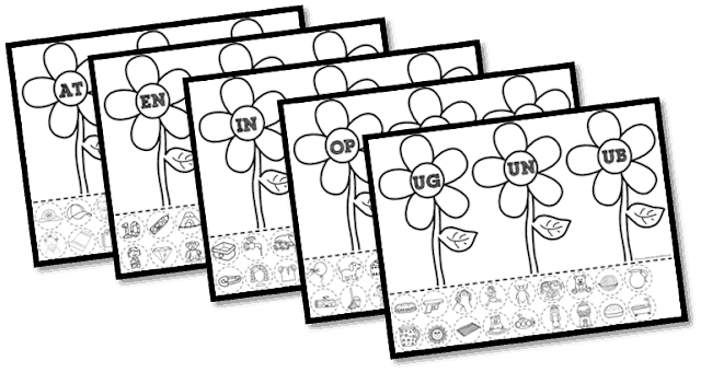 Flower Word Family Cut and Paste Worksheets
