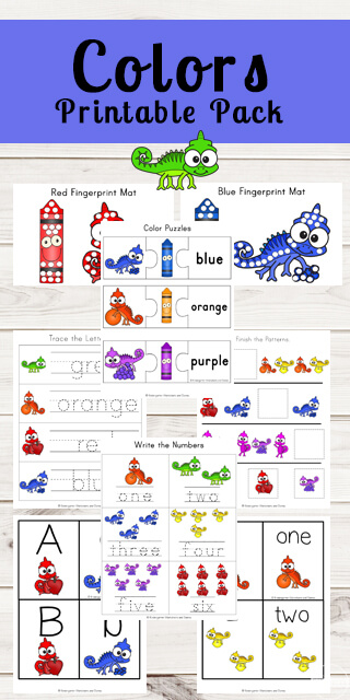 FREE Chameleon Colors Worksheets for Kids - these printables help kids learn colors, color words PLUS alphabet and math skills with a fun chameleon colors theme. Perfect for preschool, kindergarten, and first grade kids #colors #preschool #kindergarten