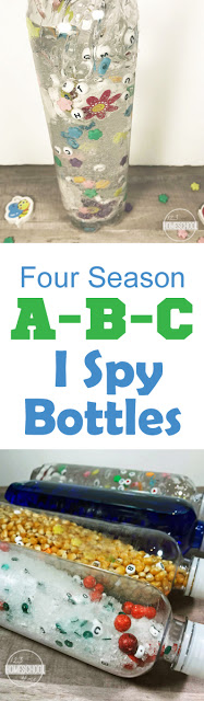Kids are going to love making and playing with these 4 season sensory bottles. These easy to make, diy sensory bottles help toddler, preschool, pre k, and kindergarten age children explore things commonly associated with fall, winter, spring and summer!