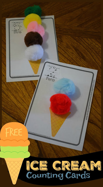 FREE Ice Cream Counting Cards are such a fun early math activity for preschool, prek, and kindergarten age kids to practice counting 1-10 with a fun summer learning, ice cream math twist.