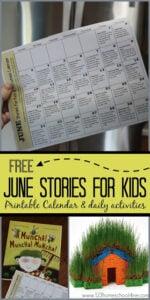 June Stories for Kids Activity Calendar