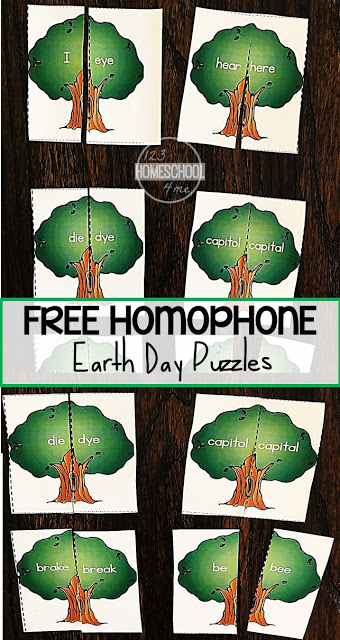 FREE Earth Day Homophones Puzzles - these free printable, hands on educational puzzles are a fun way for first grade, 2nd grade, and 3rd grade kids to practice homophones with a hands on activity perfect for spring, earth day. These are simple, low prep to prepare for extra practice #homophones #earthday