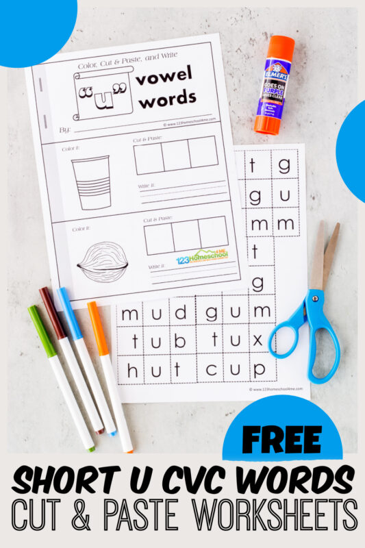 Help kids practice short u cvc words with this cut and paste worksheets kindergartenthey can make into a free printable booklet. Chidren will color, cut, paste, write and read cvc words with u to improve reading and spellling skills. This short u wordsallows preschool, pre-k, kindergarten, and first grade kids to practice sounding out and spelling 17 CVC words. Simply download pdf file with short u cvc worksheetsand you are ready to play and learn!