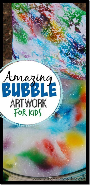 Amazing Bubble Artwork for Kids - this is such a fun, simple, colorful and FUN summer activity for kids! This kids activities is not only fun to make but makes a beautiful art project too for your summer bucket list. Perfect for toddler, preschool, kindergarten, first grade, 2nd grade, 3rd grade, 4th grade, 5th grade, and 6th grade kids.