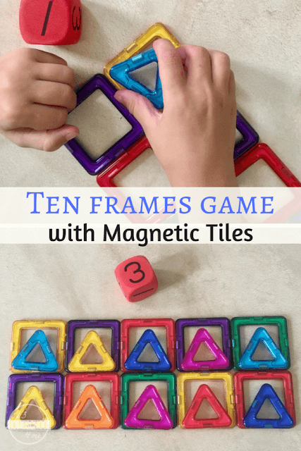 Ten Frames Game with Magnetic Tiles - this is such a fun, clever, hands on math game / activity to help preschool, prek, kindergarten, and first grade kids understand making 10, tens, and early math concepts.