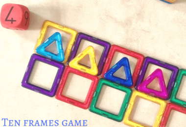 Ten Frame Math Game with Magnetic Blocks