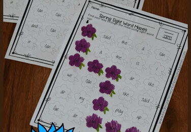 FREE Spring Kindergarten Sight Words Mazes