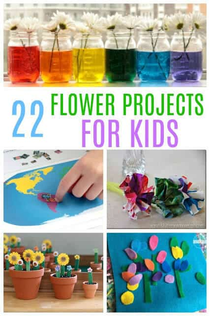 22 FUN Flower Projects - so many fun clever ways for kids to learn with flowers like flower science, flower printables, flower projects, flower crafts, flower language arts, and more. These are great for fun, educational activities for spring and summer learning for preschool, kindergarten, first grade, 2nd grade, and 3rd grade kids #flowers #theme #homeschooling