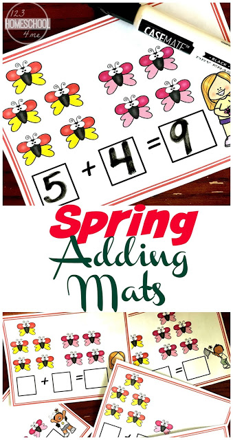 FREE Spring Addition Mats to help preschool and kindergarten age kids practice adding to 10. This is such a fun hands on math activity perfect for making 10 #addition #kindergarten #spring