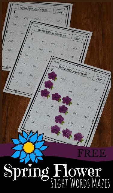FREE Spring Flower Sight Words Worksheets - these free printable worksheets for preschool, kindergarten, and first grade kids to practice sight words.