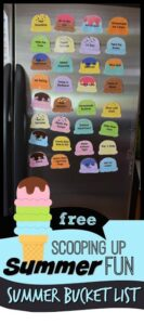 FREE ice cream summer bucket list - this is such a cute idea with lots of clever summer activities for kids plus blank scoops too to make a visual summer fun list for kids. #summerbucketlist #kidsactivities #summerideas