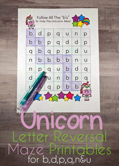 FREE Unicorn B and D Maze Worksheets