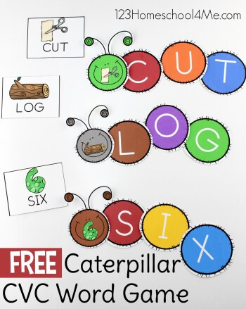 FREE Caterpillar CVC Words - this fun, free printable, hands on activity is sure to make practicing reading fun with a cvc activity - perfect for preschool, kindergarten, and first grade. #cvcwords #kindergarten #literacy