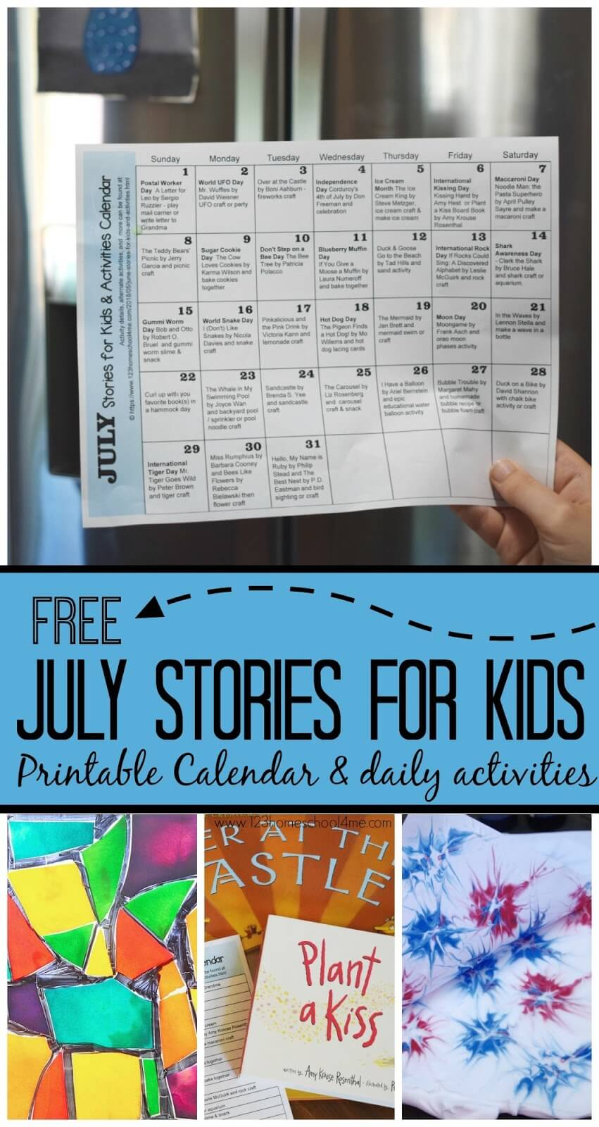 July Stories for Kids - this is such a fun, low prep activity guide for families. Just print calendar, check out the featured books, and do one of the clever, fun kids activities included. This is perfect for summer bucket list to keep kids engaged, easy activities, and keep reading good books through a variety of holidays, special days, and topics.(fireworks crafts, macaroni craft, kiss craft, 4th of july crafts, independence day for kids, ice cream crafts, beach crafts, snake crafts, and more) #storiesforkids #julyactivitycalendar #summerstories