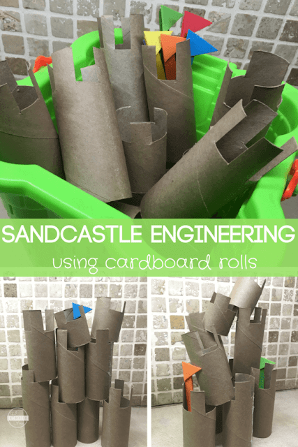 Sandcastle Engineering using toilet paper rolls - this is such a fun, clever and unique diy building activity. I love how this recycles / upcycles to reuse a common household item to make your own toy. . Perfect for summer busy bags #stem #summerlearning #kidsactivities