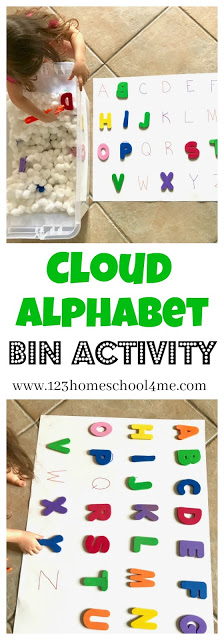 My kids are totally fascinated with sensory bins lately. They love to put things in them, take things out and even sitting in them (lol). That's why this activity that combines acloud sensory bing and anpreschool letter activity was a huge hit at our house and a great learning activity! Use thisalphabet activities for preschoolers with toddler, pre-k, and kindergarten age kids for a spring activity for kids in April and May.  It is designed to help young learners practice letter recognition, matching and fine motor skills.